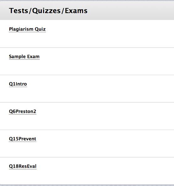 Screenshot of assessments in Blackboard