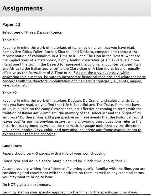 screenshot of assignment