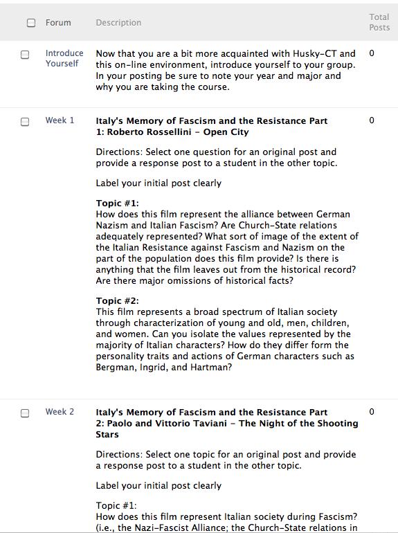 Screenshot of Blackboard discussion board